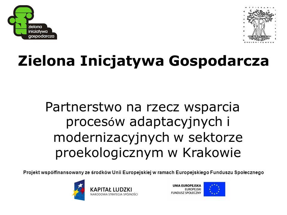 Projekt współfinansowany ze środków Unii Europejskiej w ramach Europejskiego Funduszu Społecznego Zielona Inicjatywa Gospodarcza Partnerstwo na rzecz