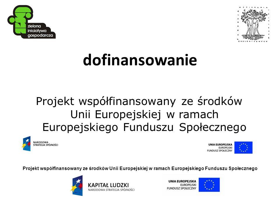 Projekt współfinansowany ze środków Unii Europejskiej w ramach Europejskiego Funduszu Społecznego dofinansowanie Projekt współfinansowany ze środków U