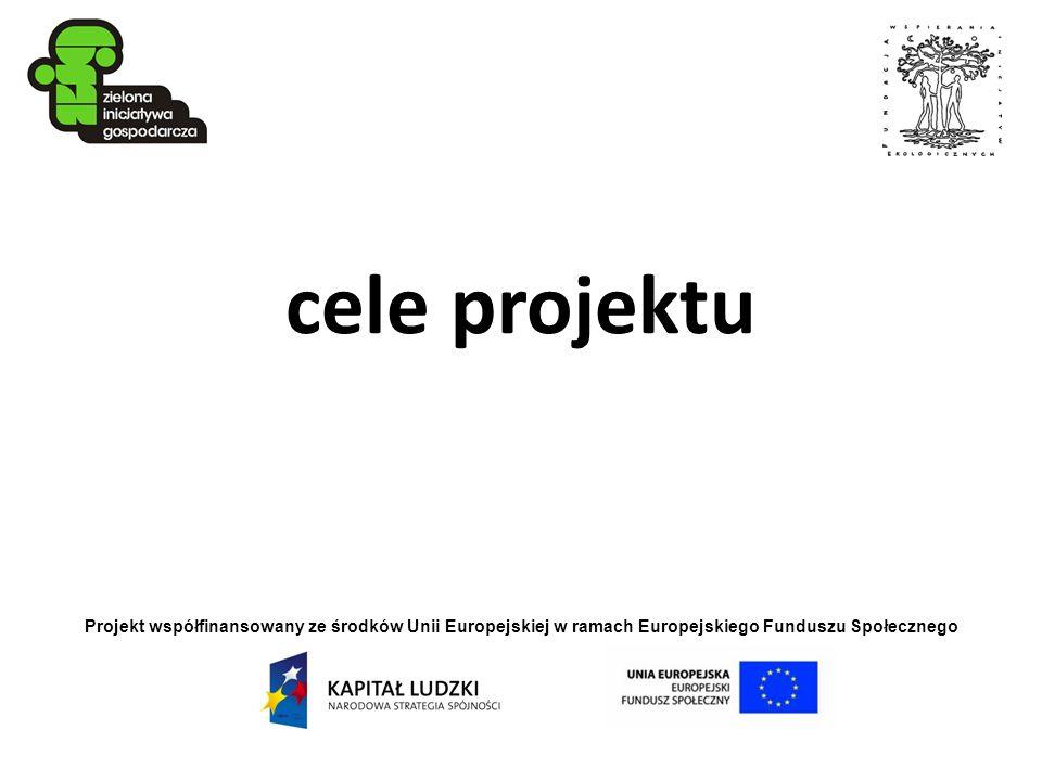 Projekt współfinansowany ze środków Unii Europejskiej w ramach Europejskiego Funduszu Społecznego cele projektu