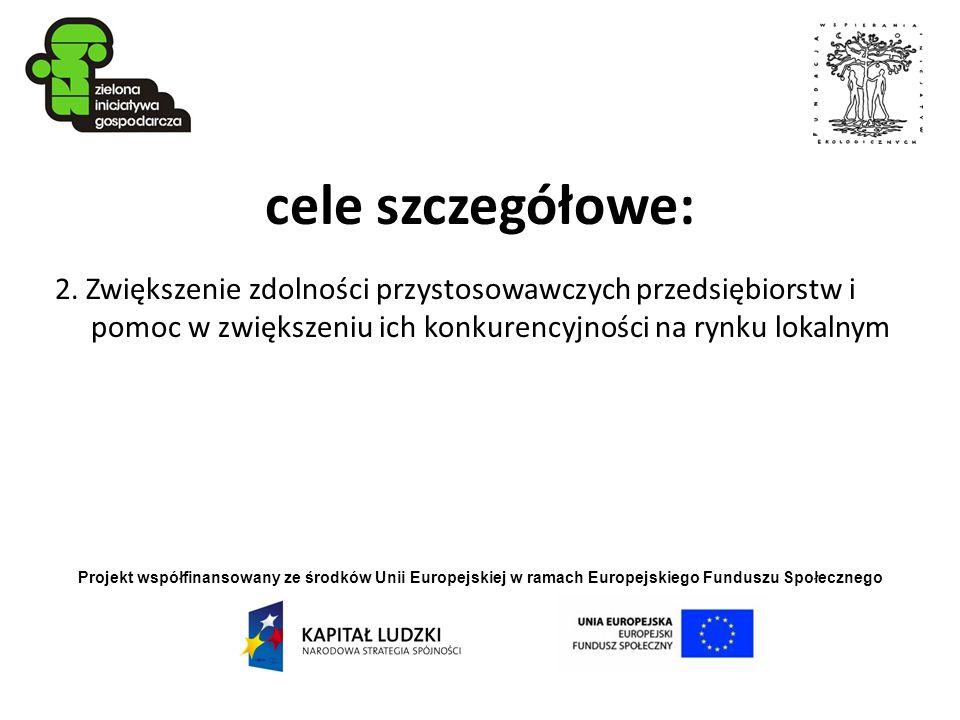 Projekt współfinansowany ze środków Unii Europejskiej w ramach Europejskiego Funduszu Społecznego cele szczegółowe: 2. Zwiększenie zdolności przystoso