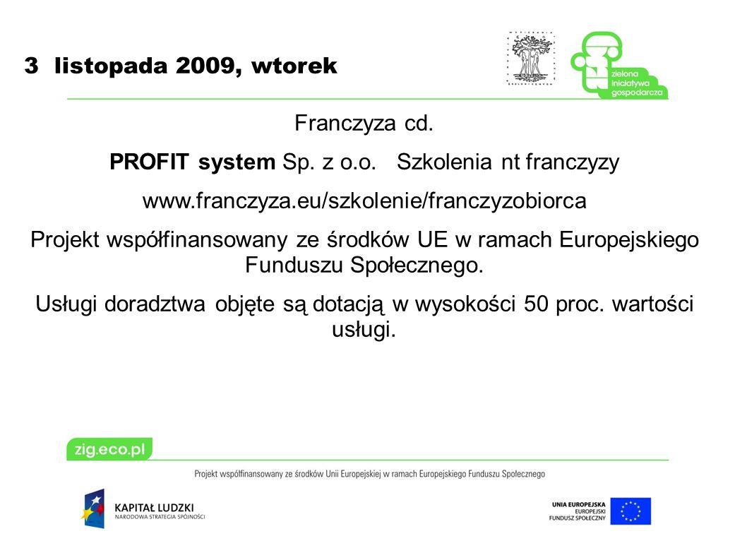 3 listopada 2009, wtorek Franczyza cd. PROFIT system Sp.