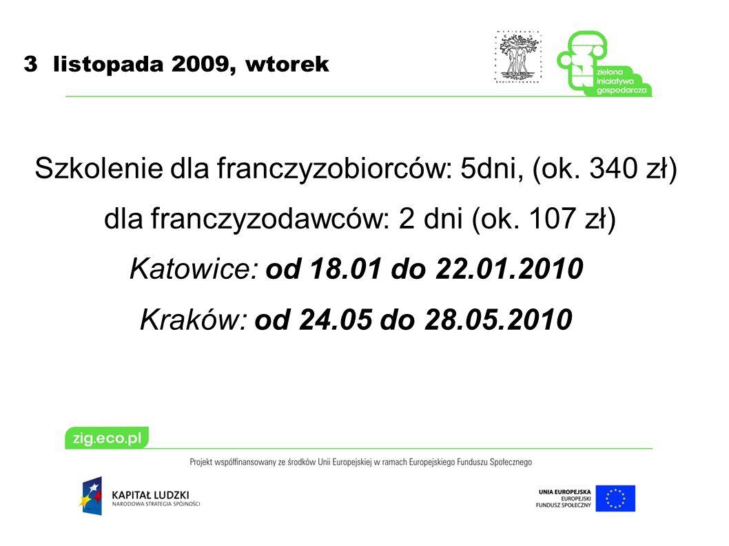 3 listopada 2009, wtorek Szkolenie dla franczyzobiorców: 5dni, (ok.