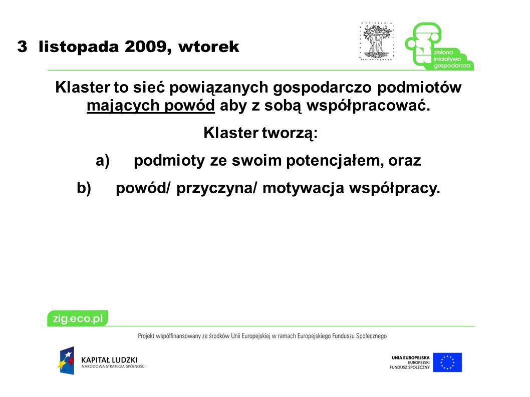 3 listopada 2009, wtorek Klaster to sieć powiązanych gospodarczo podmiotów mających powód aby z sobą współpracować.
