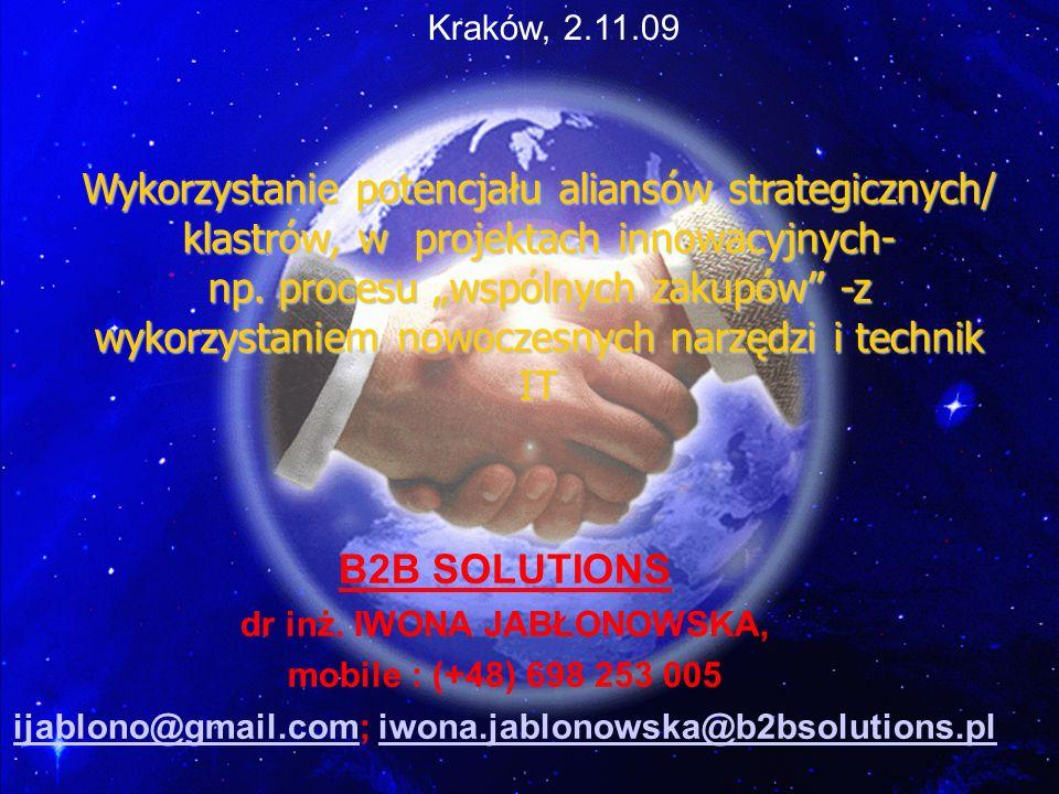 Wykorzystanie potencjału aliansów strategicznych/ klastrów, w projektach innowacyjnych- np. procesu wspólnych zakupów -z wykorzystaniem nowoczesnych n
