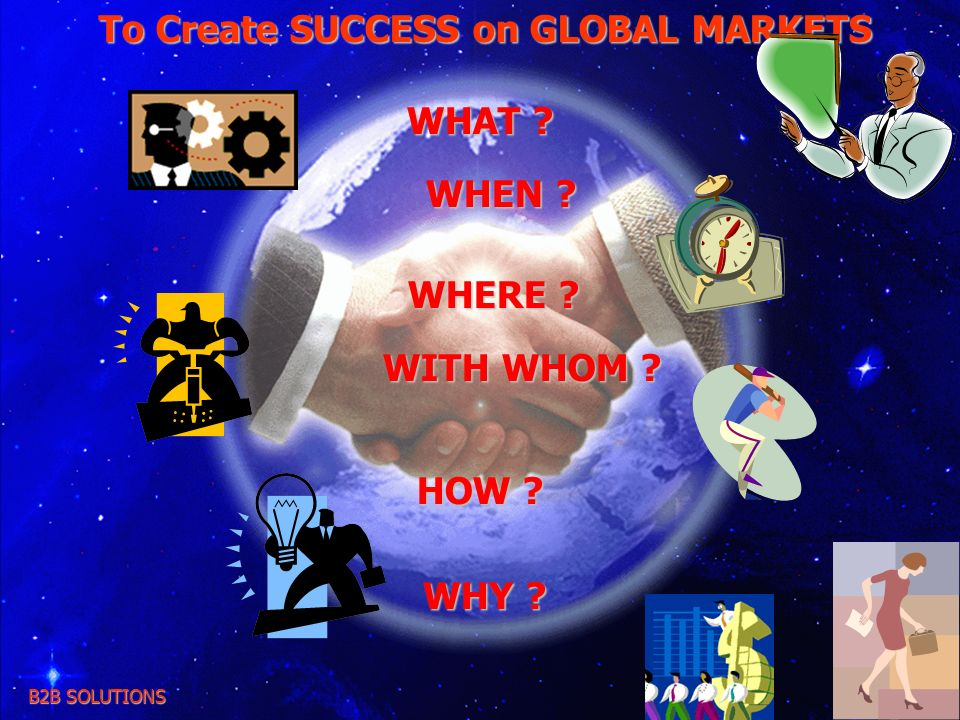 To Create SUCCESS on GLOBAL MARKETS B2B SOLUTIONS WHAT ? WHEN ? WHEN ? WHERE ? WHERE ? WITH WHOM ? WITH WHOM ? HOW ? WHY ? WHY ?
