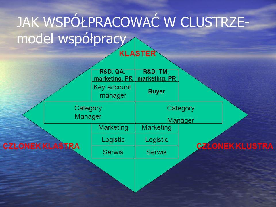 JAK WSPÓŁPRACOWAĆ W CLUSTRZE- model współpracy CZŁONEK KLASTRACZŁONEK KLUSTRA Key account manager Marketing Logistic Serwis R&D, QA, marketing, PR Cat
