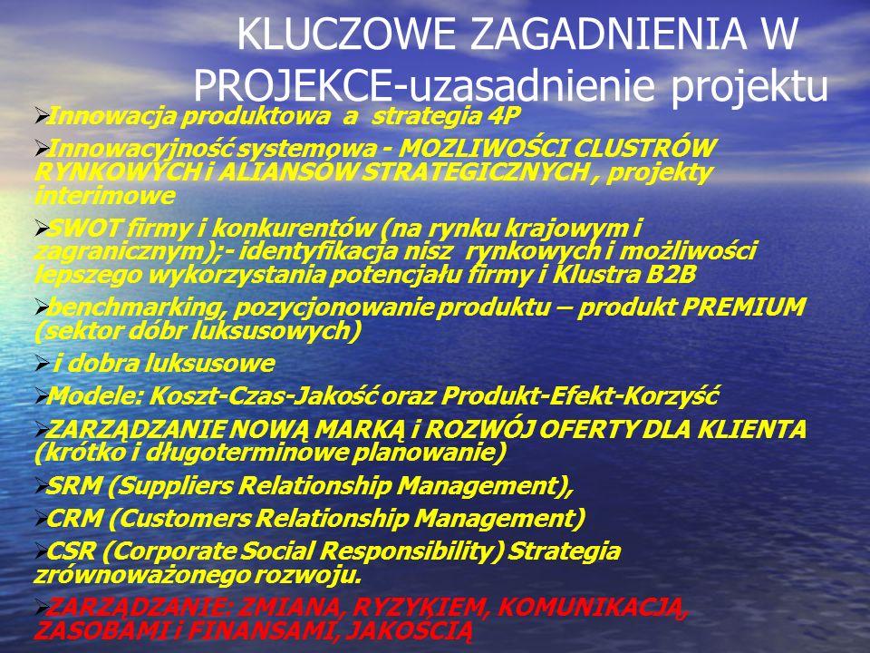 KLUCZOWE ZAGADNIENIA W PROJEKCE-uzasadnienie projektu Innowacja produktowa a strategia 4P Innowacyjność systemowa - MOZLIWOŚCI CLUSTRÓW RYNKOWYCH i AL