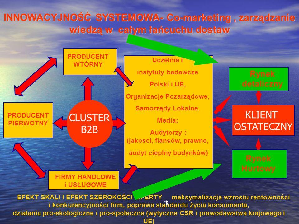 INNOWACYJNOŚĆ SYSTEMOWA- Co-marketing, zarządzanie wiedzą w całym łańcuchu dostaw PRODUCENT WTÓRNY EFEKT SKALI I EFEKT SZEROKOŚCI OFERTY maksymalizacj