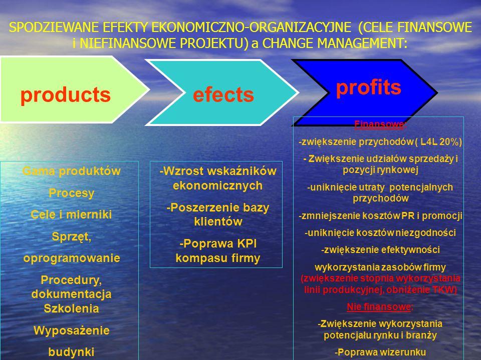 SPODZIEWANE EFEKTY EKONOMICZNO-ORGANIZACYJNE (CELE FINANSOWE i NIEFINANSOWE PROJEKTU) a CHANGE MANAGEMENT: productsefects profits Gama produktów Proce