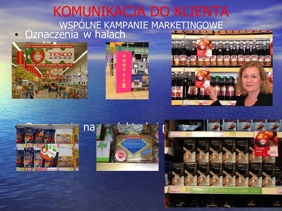 KOMUNIKACJA DO KLIENTA WSPÓLNE KAMPANIE MARKETINGOWE Oznaczenia w halach Oznaczenia na produktach i półkach
