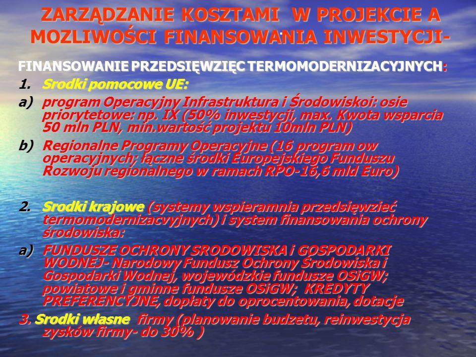- FINANSOWANIE PRZEDSIĘWZIĘC TERMOMODERNIZACYJNYCH: 1.Srodki pomocowe UE: a)program Operacyjny Infrastruktura i Środowiskoi: osie priorytetowe: np. IX