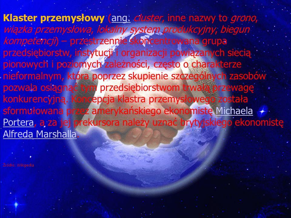 G W OBRĘBIE CLUSTRÓW Klaster przemysłowy (ang. cluster, inne nazwy to grono, wiązka przemysłowa, lokalny system produkcyjny, biegun kompetencji) – prz