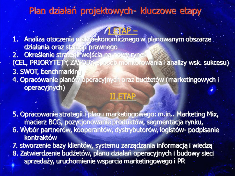 Plan działań projektowych- kluczowe etapy I ETAP – 1.Analiza otoczenia makroekonomicznego w planowanym obszarze działania oraz statusu prawnego 2.Okre