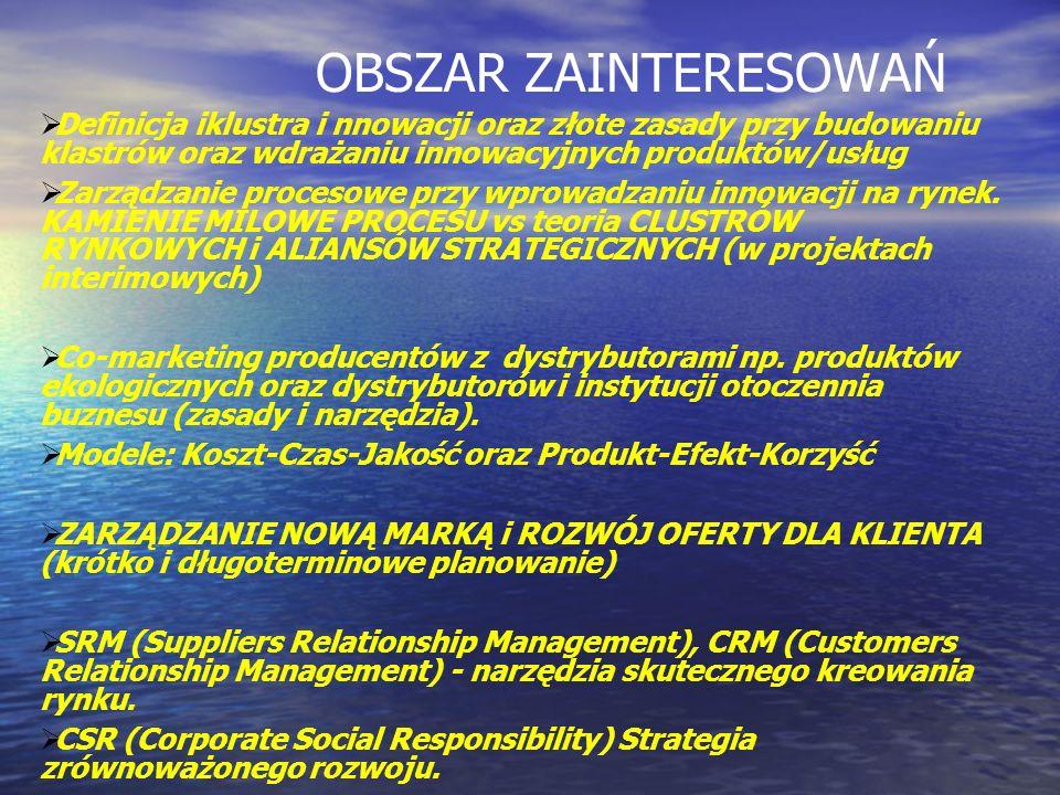OBSZAR ZAINTERESOWAŃ Definicja iklustra i nnowacji oraz złote zasady przy budowaniu klastrów oraz wdrażaniu innowacyjnych produktów/usług Zarządzanie