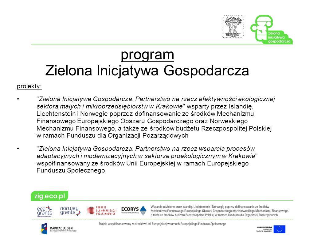 program Zielona Inicjatywa Gospodarcza projekty: Zielona Inicjatywa Gospodarcza.