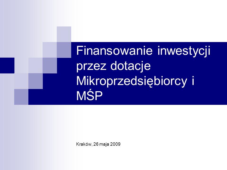 Finansowanie inwestycji przez dotacje Mikroprzedsiębiorcy i MŚP Kraków, 26 maja 2009