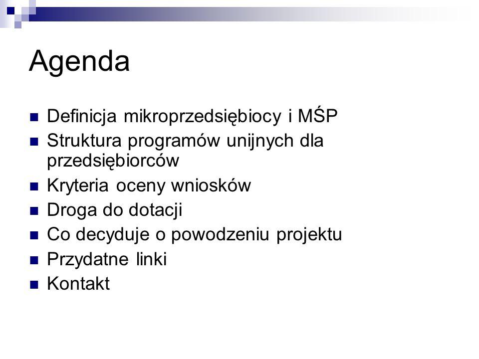 Agenda Definicja mikroprzedsiębiocy i MŚP Struktura programów unijnych dla przedsiębiorców Kryteria oceny wniosków Droga do dotacji Co decyduje o powodzeniu projektu Przydatne linki Kontakt