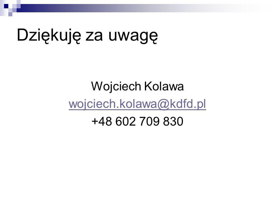 Dziękuję za uwagę Wojciech Kolawa wojciech.kolawa@kdfd.pl +48 602 709 830