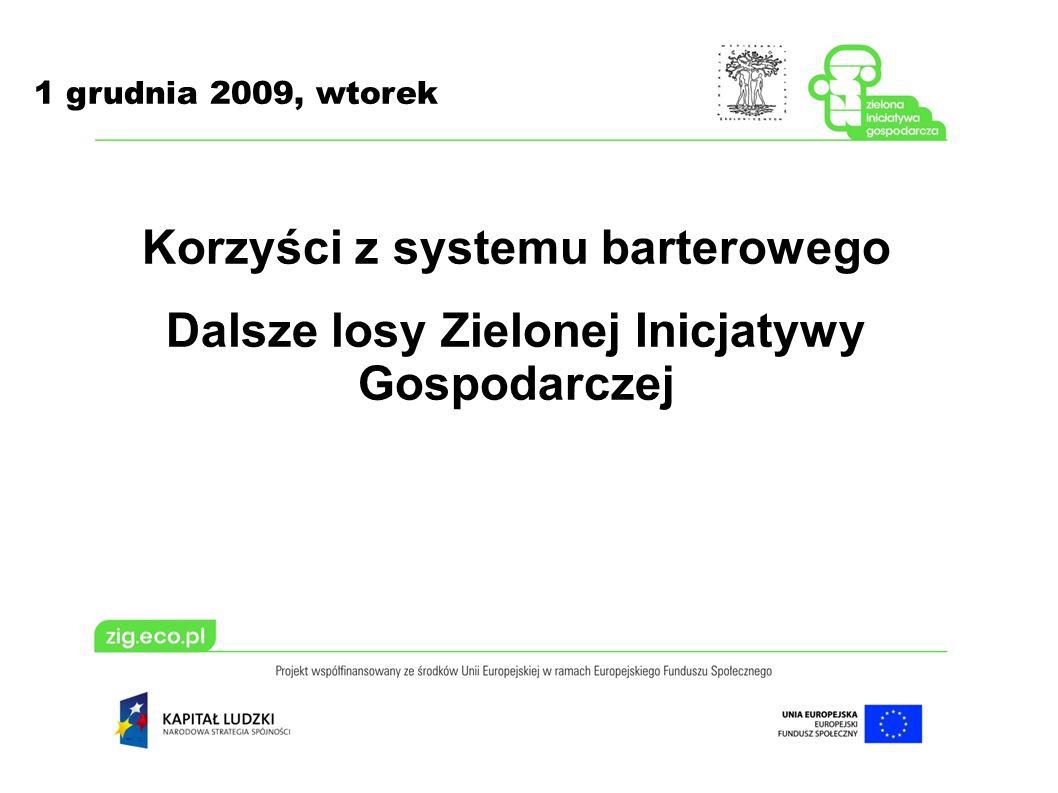 1 grudnia 2009, wtorek Korzyści z systemu barterowego Dalsze losy Zielonej Inicjatywy Gospodarczej