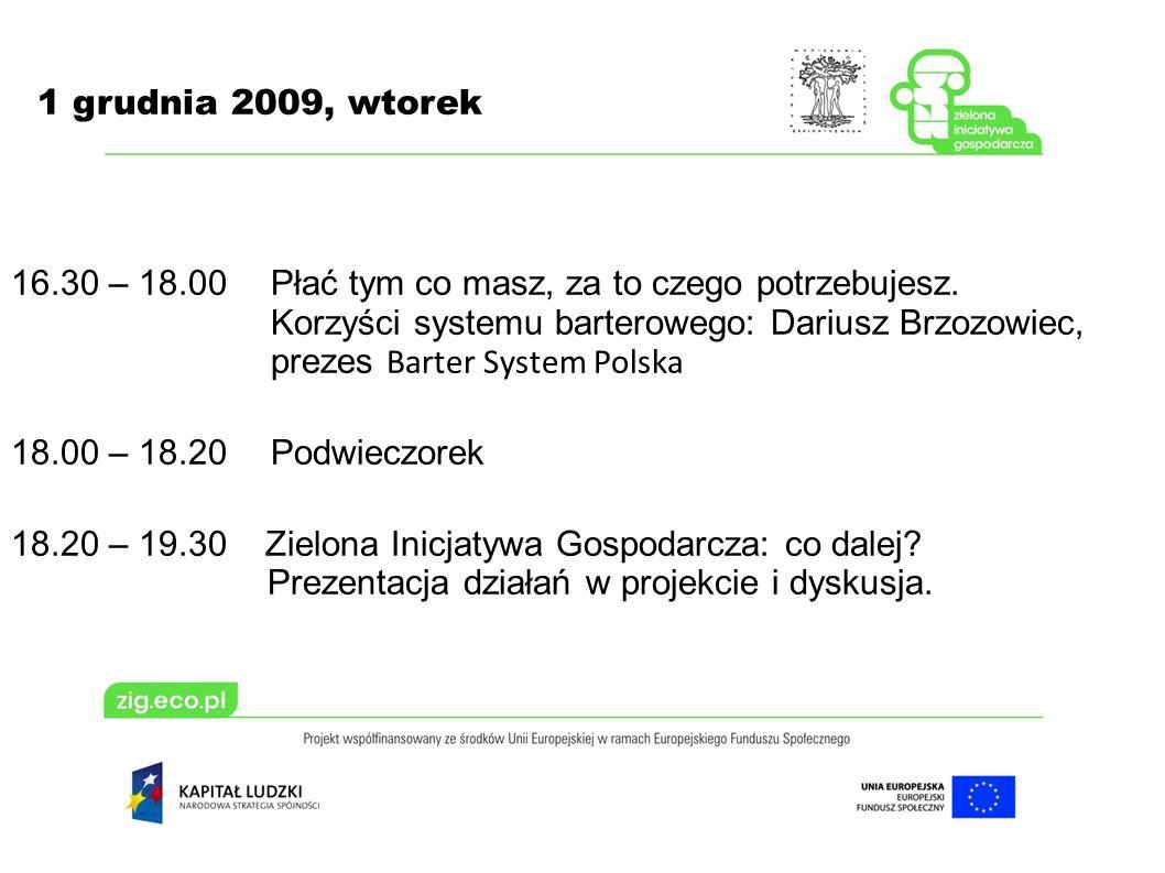 1 grudnia 2009, wtorek 16.30 – 18.00 Płać tym co masz, za to czego potrzebujesz. Korzyści systemu barterowego: Dariusz Brzozowiec, prezes Barter Syste