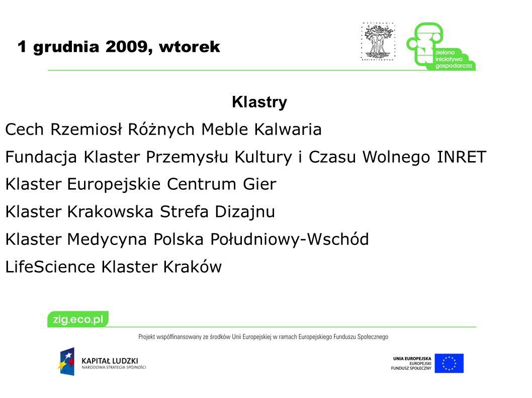 1 grudnia 2009, wtorek Klastry Cech Rzemiosł Różnych Meble Kalwaria Fundacja Klaster Przemysłu Kultury i Czasu Wolnego INRET Klaster Europejskie Centr