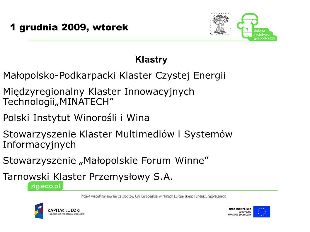 1 grudnia 2009, wtorek Klastry Małopolsko-Podkarpacki Klaster Czystej Energii Międzyregionalny Klaster Innowacyjnych TechnologiiMINATECH Polski Instyt