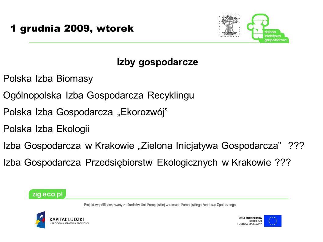 1 grudnia 2009, wtorek Izby gospodarcze Polska Izba Biomasy Ogólnopolska Izba Gospodarcza Recyklingu Polska Izba Gospodarcza Ekorozwój Polska Izba Eko