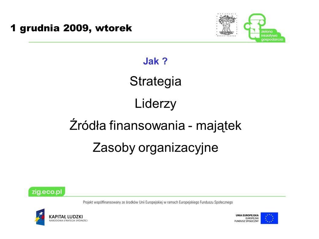 1 grudnia 2009, wtorek Jak ? Strategia Liderzy Źródła finansowania - majątek Zasoby organizacyjne