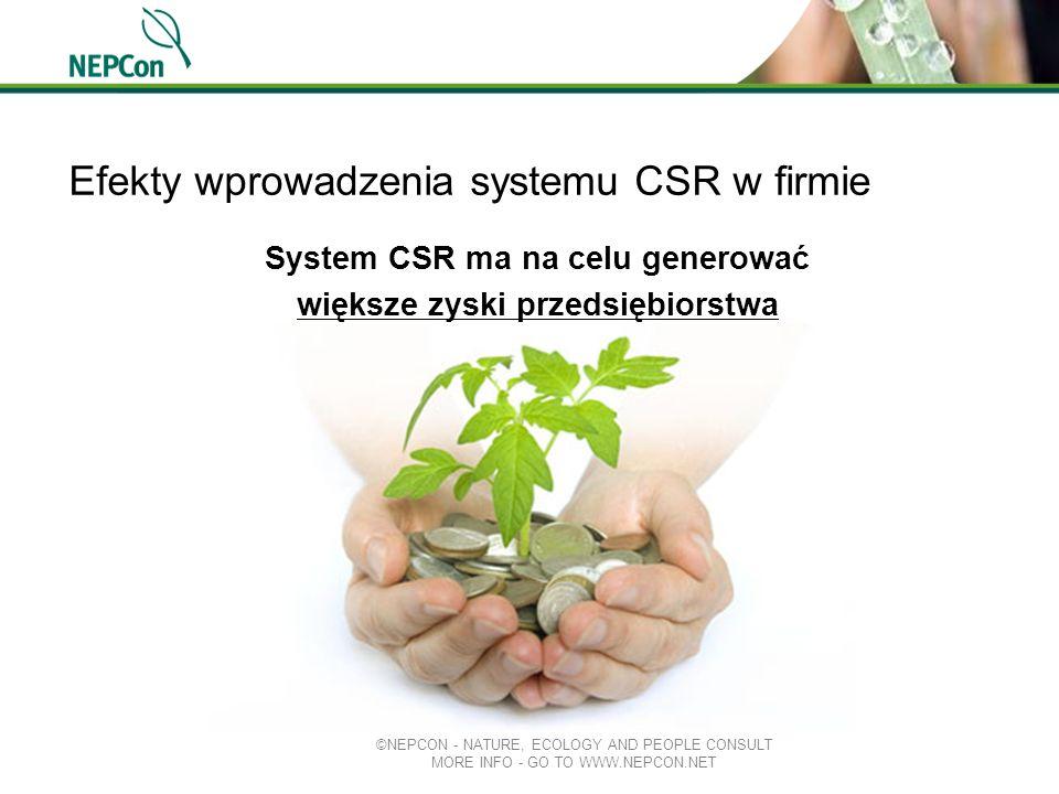 Efekty wprowadzenia systemu CSR w firmie System CSR ma na celu generować większe zyski przedsiębiorstwa ©NEPCON - NATURE, ECOLOGY AND PEOPLE CONSULT M