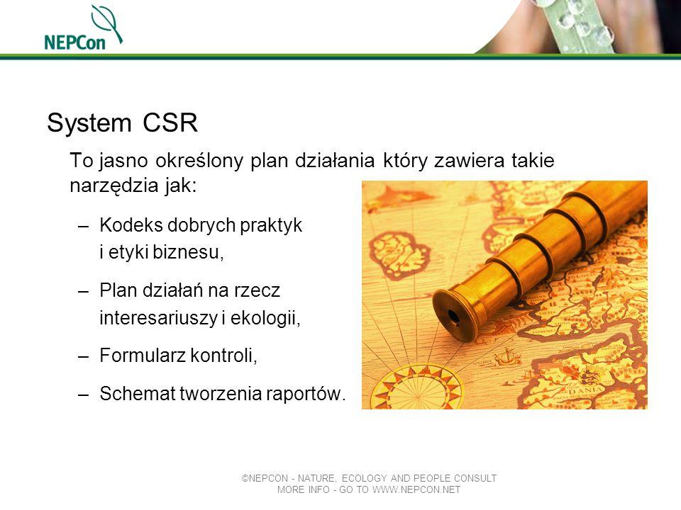 System CSR To jasno określony plan działania który zawiera takie narzędzia jak: –Kodeks dobrych praktyk i etyki biznesu, –Plan działań na rzecz intere