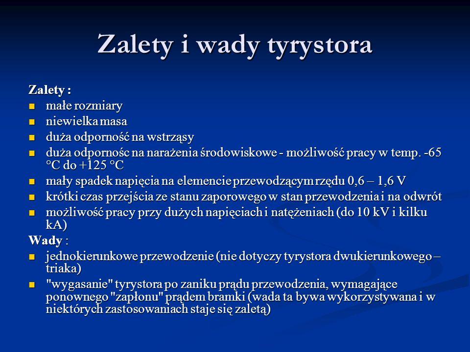 Zalety i wady tyrystora Zalety : małe rozmiary małe rozmiary niewielka masa niewielka masa duża odporność na wstrząsy duża odporność na wstrząsy duża