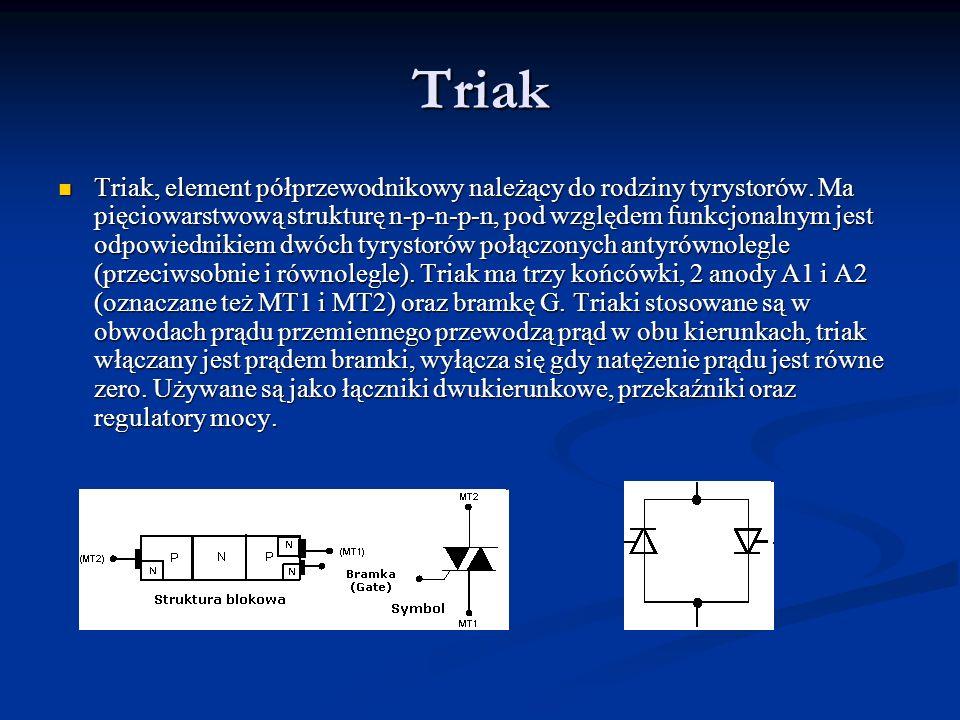 Triak Triak, element półprzewodnikowy należący do rodziny tyrystorów. Ma pięciowarstwową strukturę n-p-n-p-n, pod względem funkcjonalnym jest odpowied