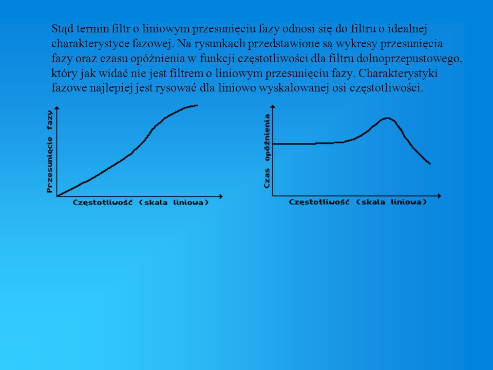Stąd termin filtr o liniowym przesunięciu fazy odnosi się do filtru o idealnej charakterystyce fazowej. Na rysunkach przedstawione są wykresy przesuni