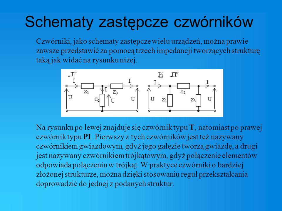 Schematy zastępcze czwórników Czwórniki, jako schematy zastępcze wielu urządzeń, można prawie zawsze przedstawić za pomocą trzech impedancji tworzącyc