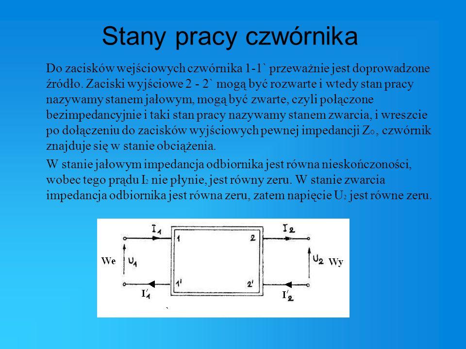 Źródła: Internet: http://www.mival.friko.pl/Pomiar_impedancji_czwornika.html http://www.elektrotechnika.po.opole.pl/cwiczenia/czworniki/czworniki.