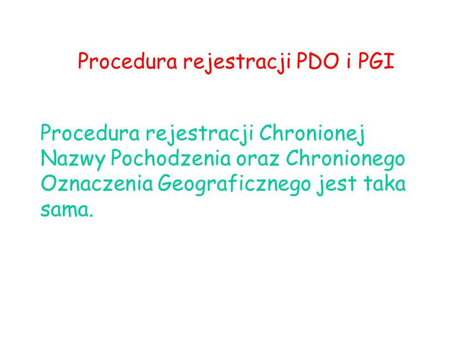 Procedura rejestracji PDO i PGI Procedura rejestracji Chronionej Nazwy Pochodzenia oraz Chronionego Oznaczenia Geograficznego jest taka sama.