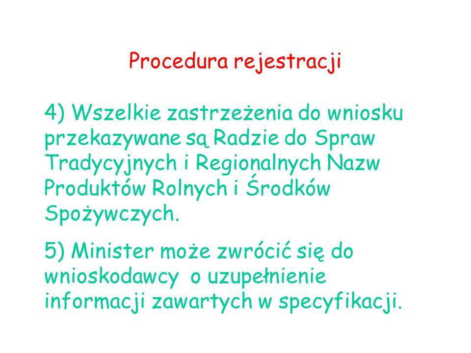 Procedura rejestracji 4) Wszelkie zastrzeżenia do wniosku przekazywane są Radzie do Spraw Tradycyjnych i Regionalnych Nazw Produktów Rolnych i Środków
