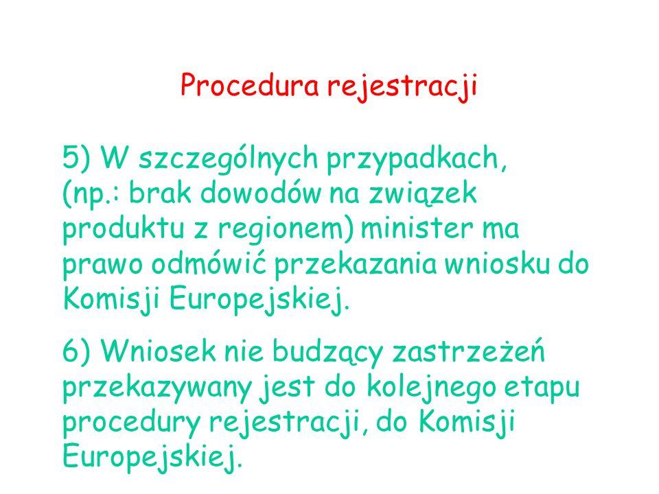 Procedura rejestracji 5) W szczególnych przypadkach, (np.: brak dowodów na związek produktu z regionem) minister ma prawo odmówić przekazania wniosku do Komisji Europejskiej.