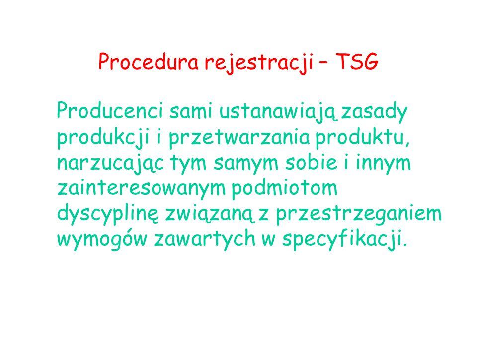Procedura rejestracji – TSG Producenci sami ustanawiają zasady produkcji i przetwarzania produktu, narzucając tym samym sobie i innym zainteresowanym podmiotom dyscyplinę związaną z przestrzeganiem wymogów zawartych w specyfikacji.
