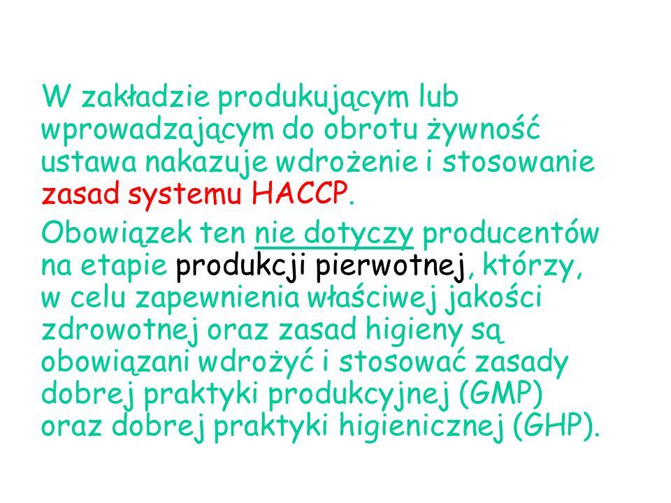 W zakładzie produkującym lub wprowadzającym do obrotu żywność ustawa nakazuje wdrożenie i stosowanie zasad systemu HACCP. Obowiązek ten nie dotyczy pr