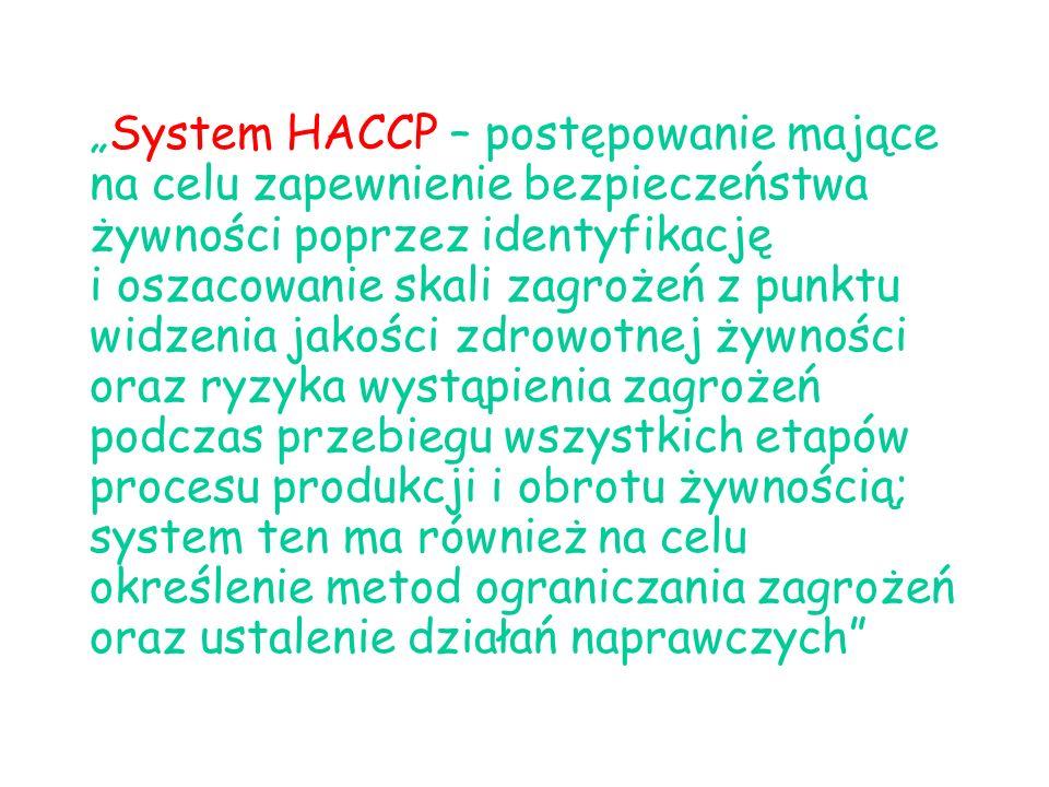 System HACCP – postępowanie mające na celu zapewnienie bezpieczeństwa żywności poprzez identyfikację i oszacowanie skali zagrożeń z punktu widzenia jakości zdrowotnej żywności oraz ryzyka wystąpienia zagrożeń podczas przebiegu wszystkich etapów procesu produkcji i obrotu żywnością; system ten ma również na celu określenie metod ograniczania zagrożeń oraz ustalenie działań naprawczych