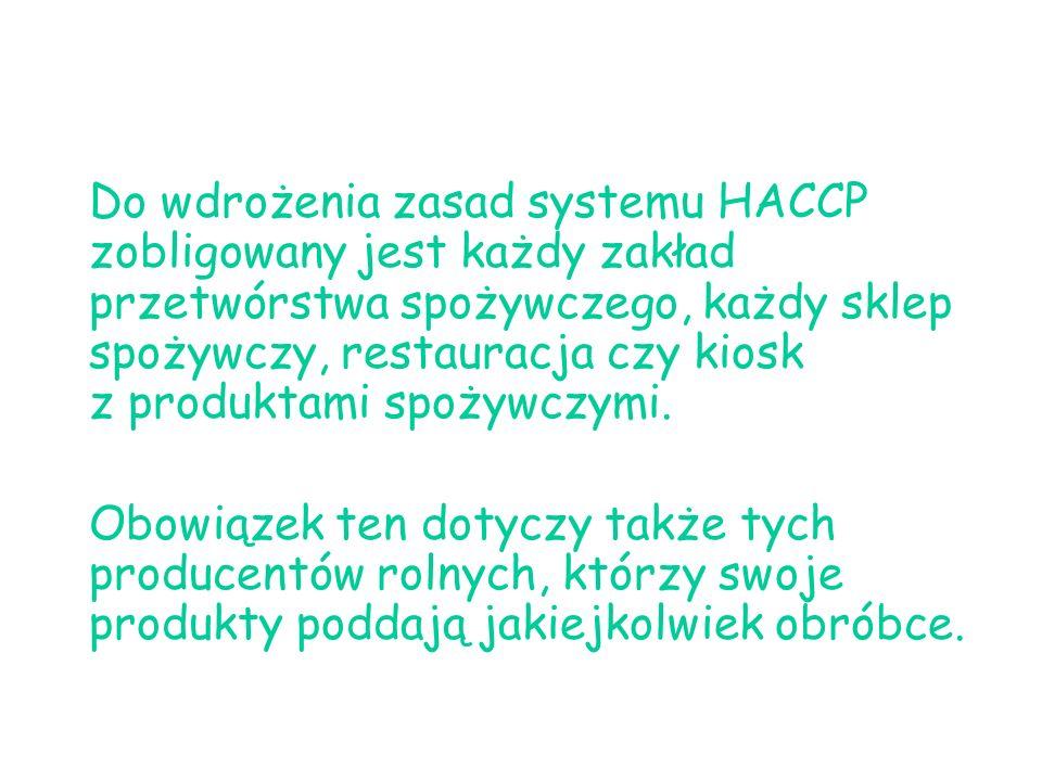 Do wdrożenia zasad systemu HACCP zobligowany jest każdy zakład przetwórstwa spożywczego, każdy sklep spożywczy, restauracja czy kiosk z produktami spo