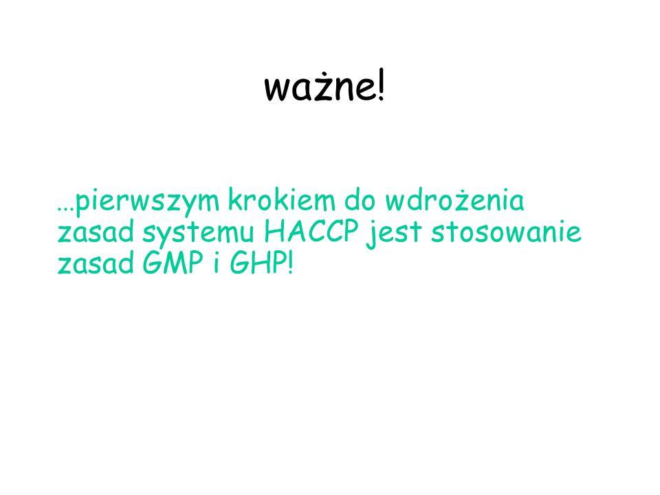 ... pierwszym krokiem do wdrożenia zasad systemu HACCP jest stosowanie zasad GMP i GHP! ważne!