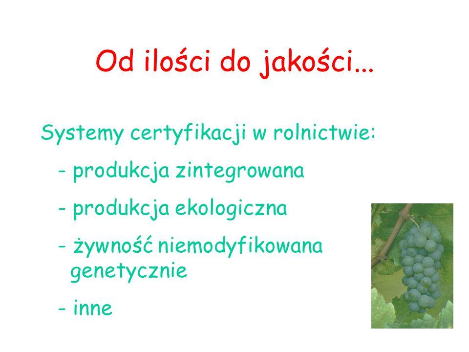 Od ilości do jakości... Systemy certyfikacji w rolnictwie: - produkcja zintegrowana - produkcja ekologiczna - żywność niemodyfikowana genetycznie - in
