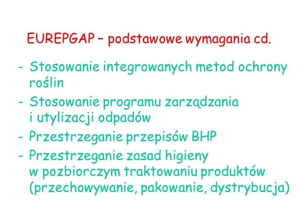 EUREPGAP – podstawowe wymagania cd. -Stosowanie integrowanych metod ochrony roślin -Stosowanie programu zarządzania i utylizacji odpadów -Przestrzegan