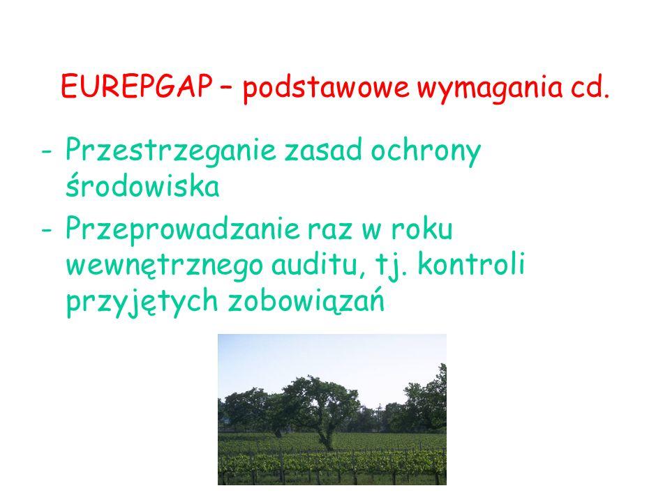 EUREPGAP – podstawowe wymagania cd. -Przestrzeganie zasad ochrony środowiska -Przeprowadzanie raz w roku wewnętrznego auditu, tj. kontroli przyjętych