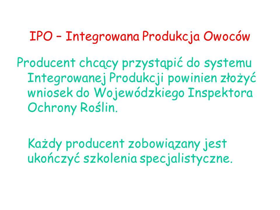 IPO – Integrowana Produkcja Owoców Producent chcący przystąpić do systemu Integrowanej Produkcji powinien złożyć wniosek do Wojewódzkiego Inspektora O