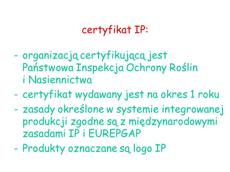 certyfikat IP: -organizacją certyfikującą jest Państwowa Inspekcja Ochrony Roślin i Nasiennictwa -certyfikat wydawany jest na okres 1 roku -zasady określone w systemie integrowanej produkcji zgodne są z międzynarodowymi zasadami IP i EUREPGAP -Produkty oznaczane są logo IP