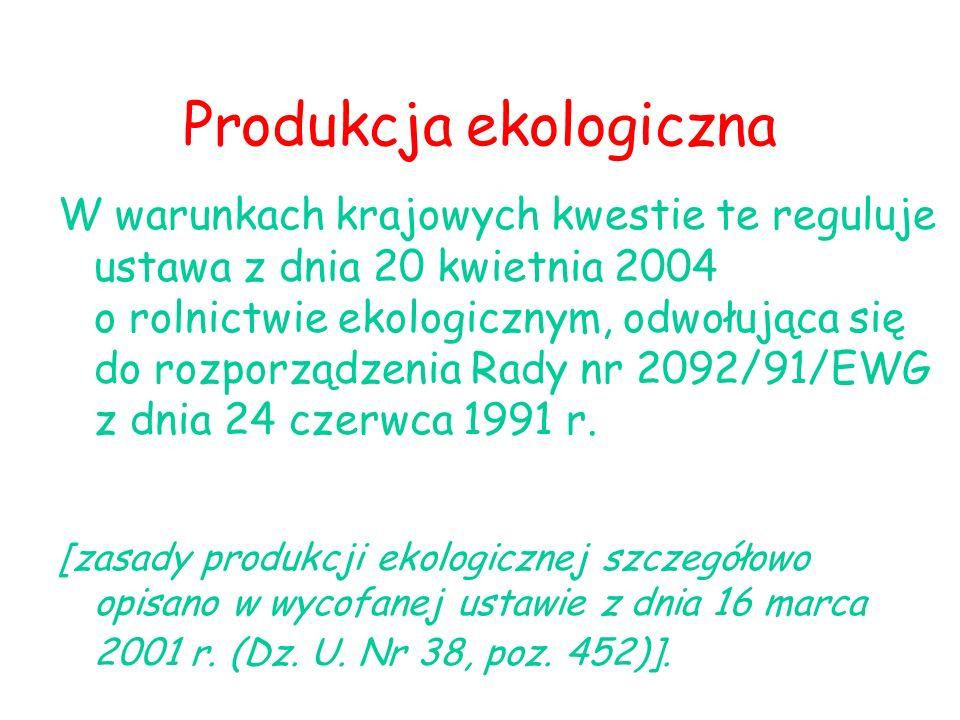 Produkcja ekologiczna W warunkach krajowych kwestie te reguluje ustawa z dnia 20 kwietnia 2004 o rolnictwie ekologicznym, odwołująca się do rozporządz