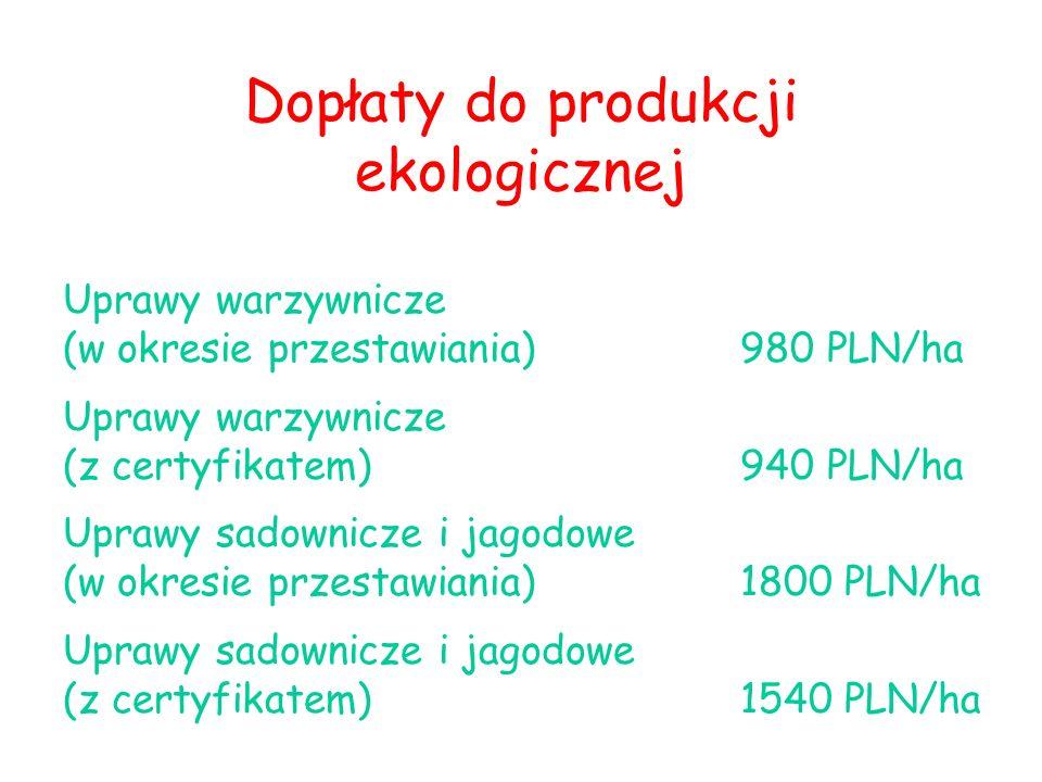 Dopłaty do produkcji ekologicznej Uprawy warzywnicze (w okresie przestawiania)980 PLN/ha Uprawy warzywnicze (z certyfikatem) 940 PLN/ha Uprawy sadownicze i jagodowe (w okresie przestawiania)1800 PLN/ha Uprawy sadownicze i jagodowe (z certyfikatem) 1540 PLN/ha